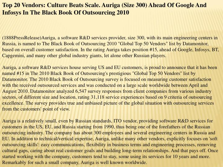 Top 20 Vendors: Culture Beats Scale. Auriga (Size 300) Ahead Of Google And Infosys In The Black Book...