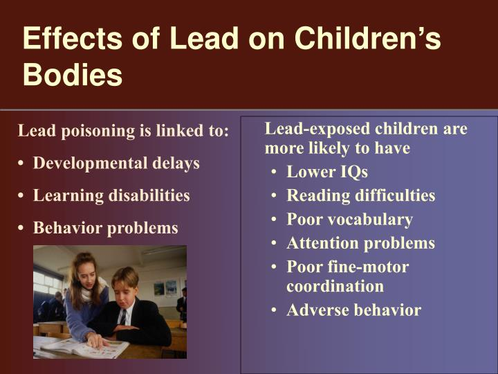 essay on lead poisoning Similarly, in the article, the need for vigilance: the persistence of lead poisoning in children published in pediatrics, a peer-review journal, the authors write the article with the intent of reiterating the need for medical professionals to remain vigilant with the accurate treatment of lead poisoning.