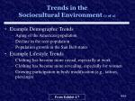 trends in the sociocultural environment 1 of 2