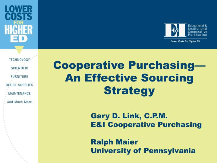 cooperative purchasing an effective sourcing strategy n.