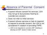 absence of parental consent