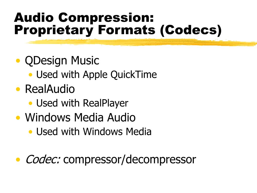 Audio Compression: Proprietary Formats (Codecs)