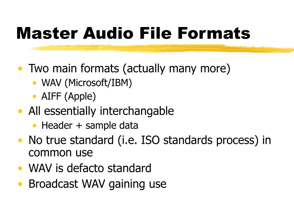 Master Audio File Formats