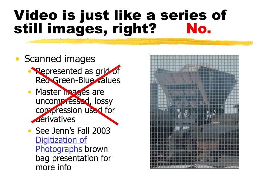 Video is just like a series of still images, right?