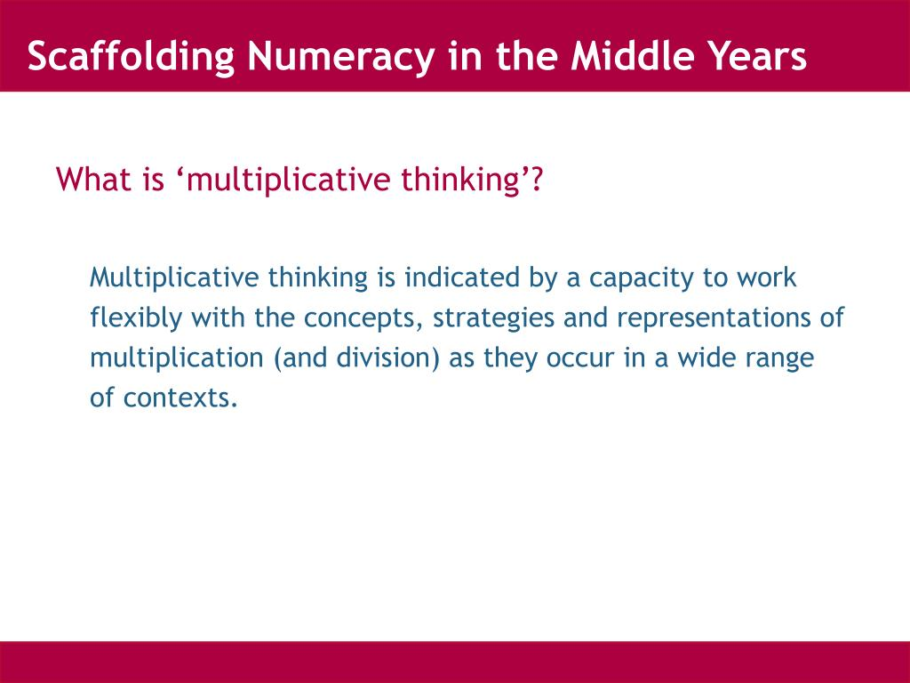 Scaffolding Numeracy in the Middle Years