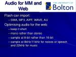 audio for mm and web