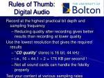 rules of thumb digital audio