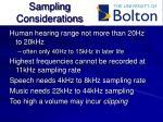 sampling considerations