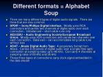 different formats alphabet soup