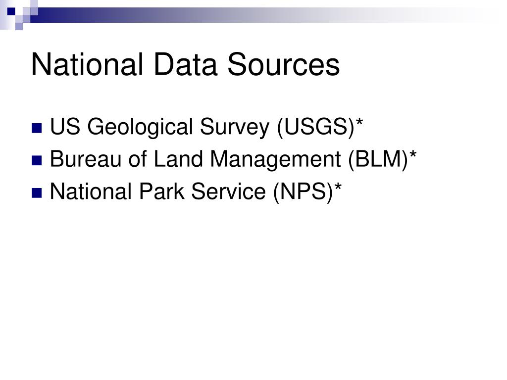 National Data Sources