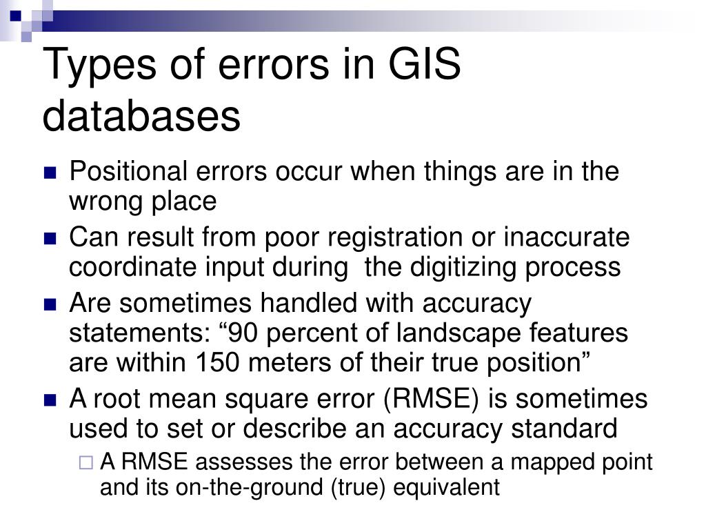 Types of errors in GIS databases
