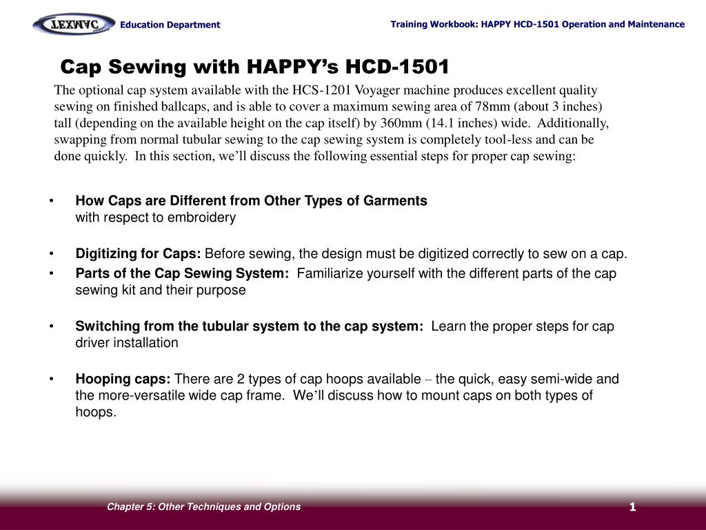 cap sewing with happy s hcd 1501 l.