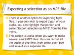 exporting a selection as an mp3 file