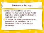 preference settings