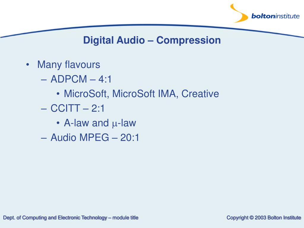 Digital Audio – Compression