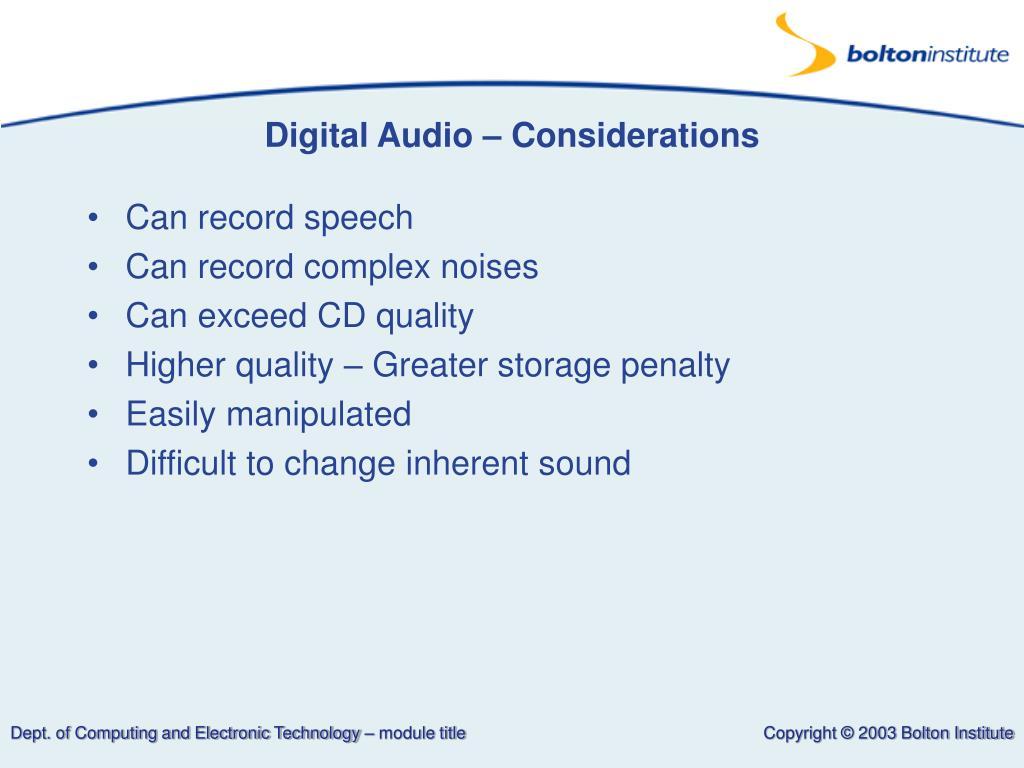 Digital Audio – Considerations