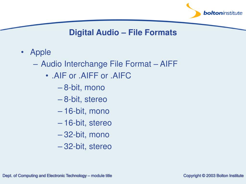 Digital Audio – File Formats