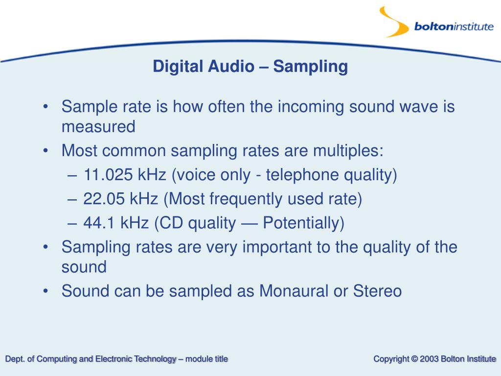 Digital Audio – Sampling