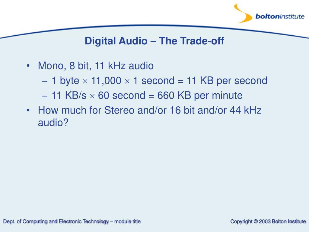Digital Audio – The Trade-off