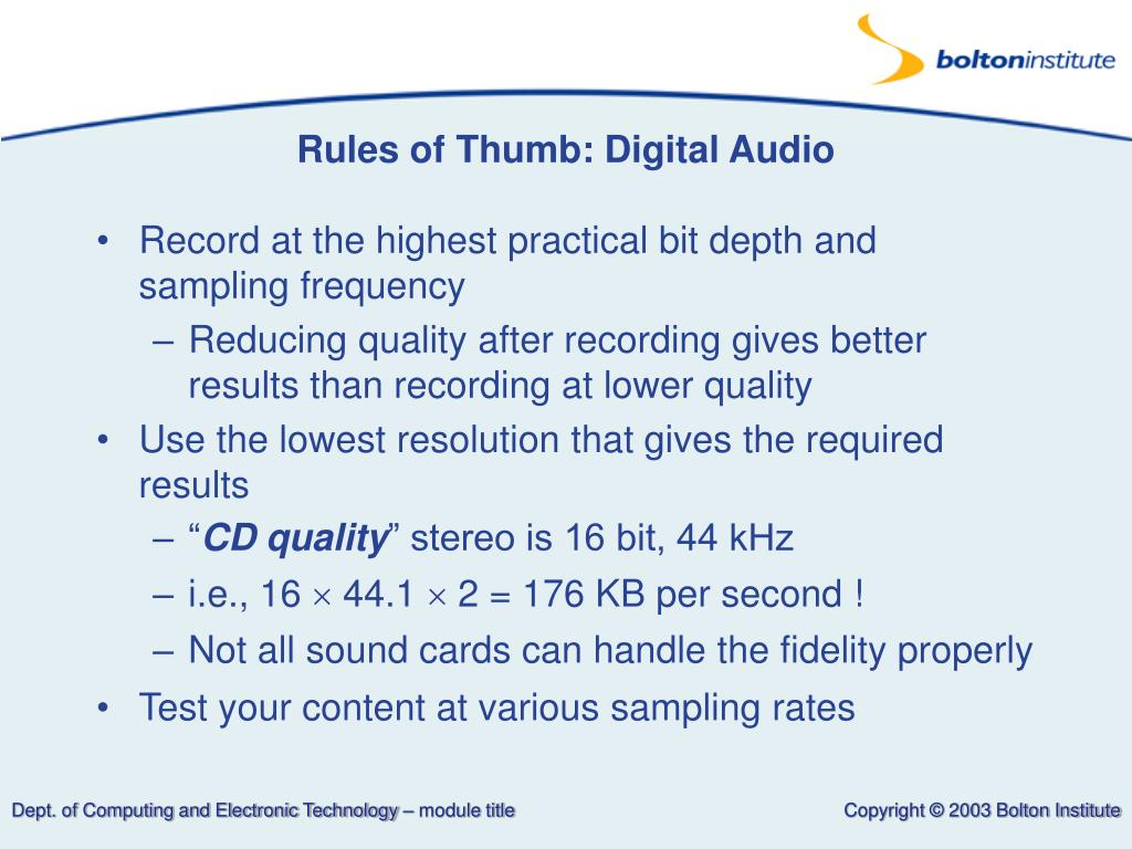 Rules of Thumb: Digital Audio
