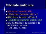 calculate audio size
