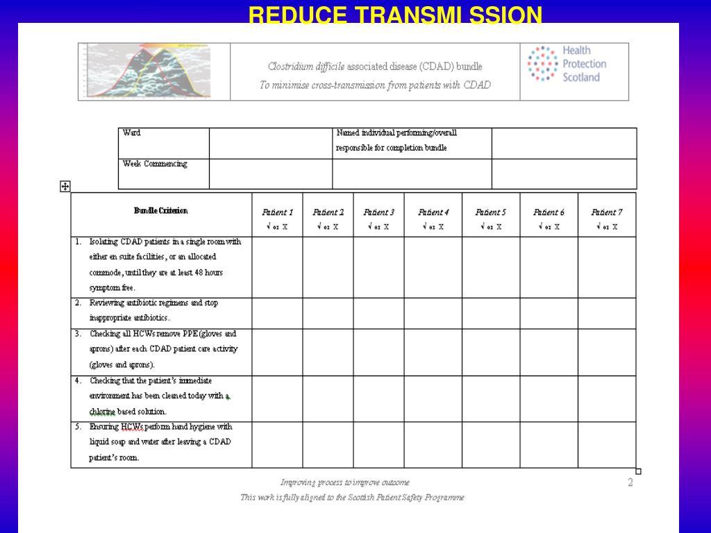 REDUCE TRANSMI SSION