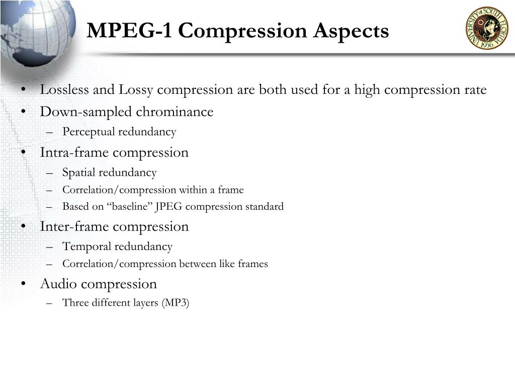 MPEG-1 Compression Aspects