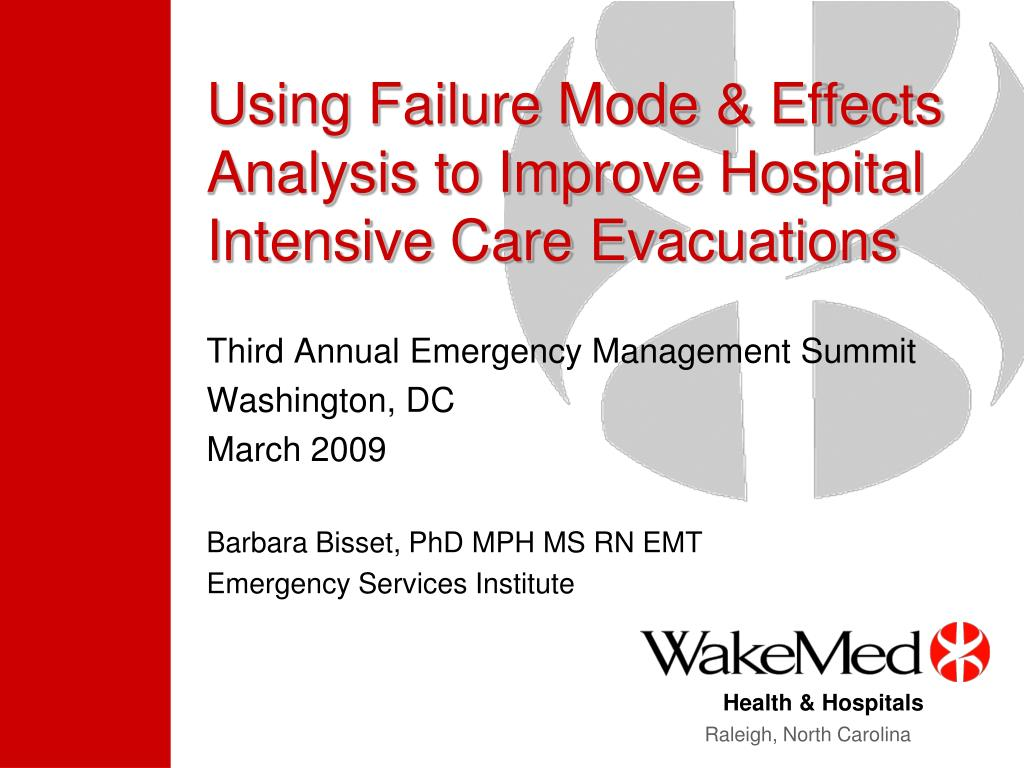 using failure mode effects analysis to improve hospital intensive care evacuations l.