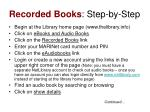 recorded books step by step
