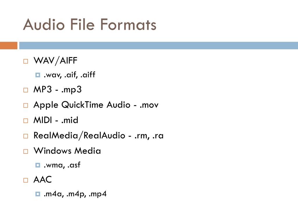 Audio File Formats