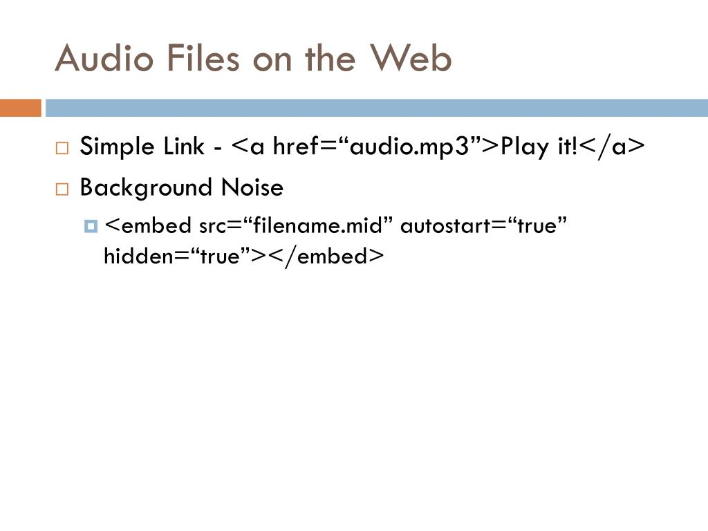 Audio Files on the Web