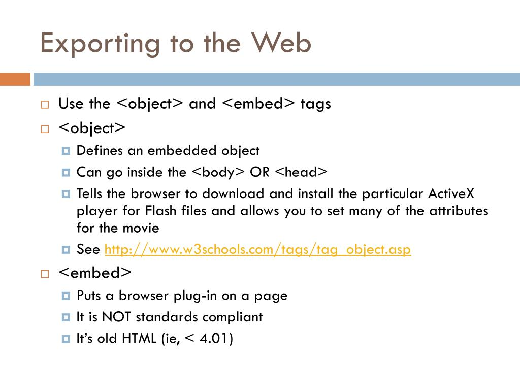 Exporting to the Web
