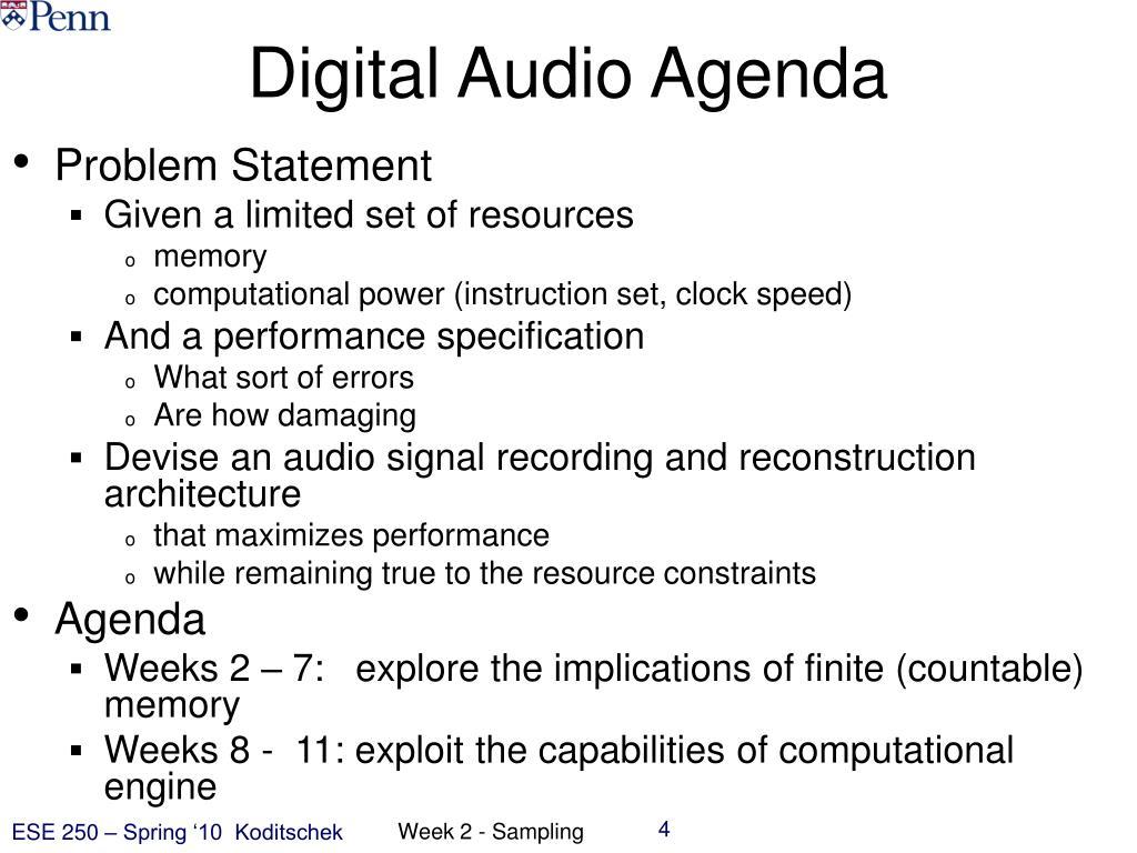 Digital Audio Agenda