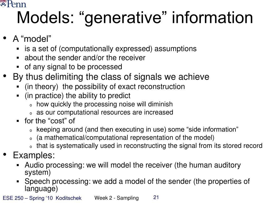 "Models: ""generative"" information"