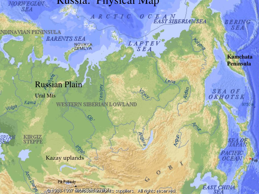 PPT - Russia PowerPoint Presentation - ID:289276 Kazakh Uplands Physical Map Of Russia on