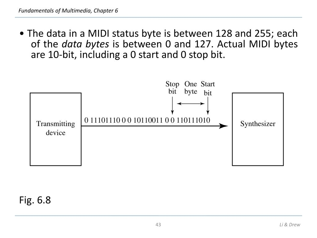 • The data in a MIDI status byte is between 128 and 255; each of the