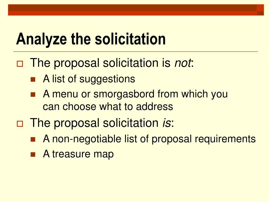 Analyze the solicitation
