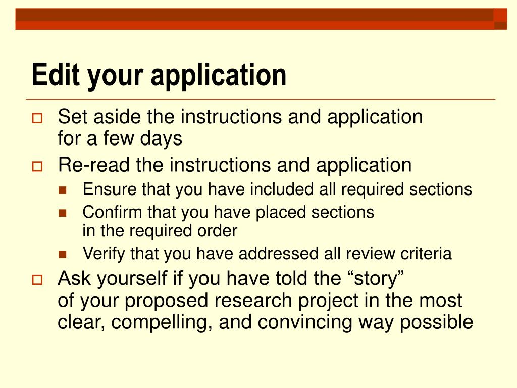 Edit your application