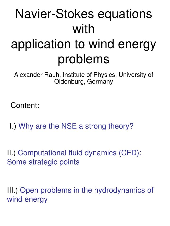 PPT - Navier-Stokes equations with application to wind