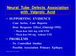 neural tube defects association with valproic acid