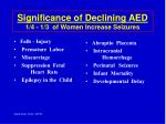 significance of declining aed 1 4 1 3 of women increase seizures