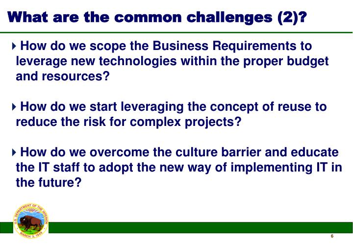 What are the common challenges (2)?