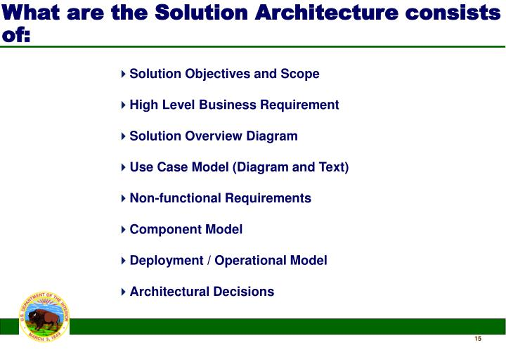 What are the Solution Architecture consists of: