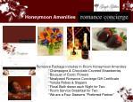 honeymoon amenities
