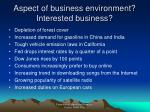 aspect of business environment interested business