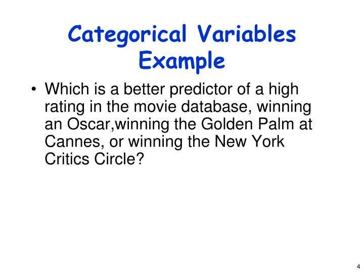 Categorical Variables Example