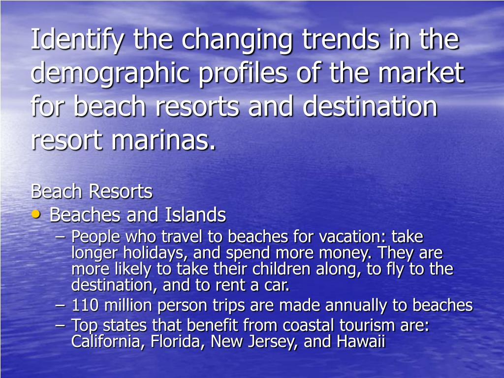 Identify the changing trends in the demographic profiles of the market for beach resorts and destination resort marinas.