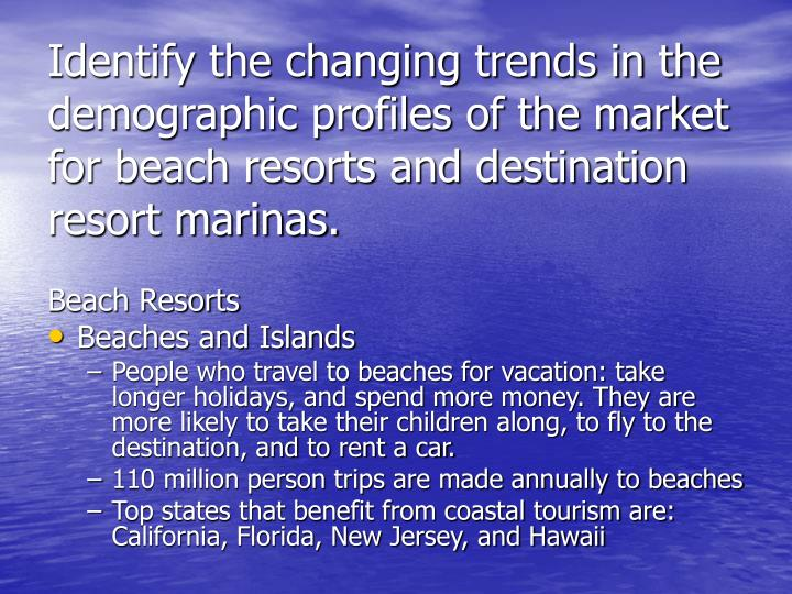 Identify the changing trends in the demographic profiles of the market for beach resorts and destina...