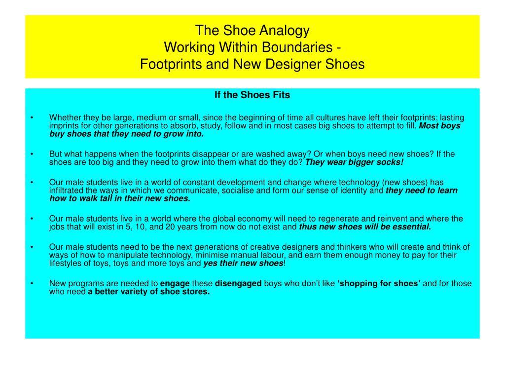 The Shoe Analogy