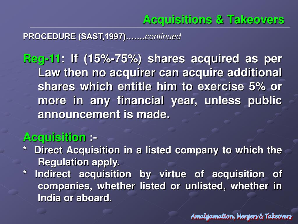 Acquisitions & Takeovers